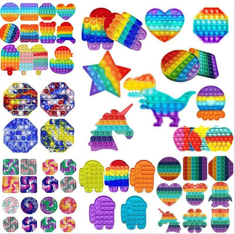 Azioni USA! Tiktok Push Bubble Fidget Toys Autism Needs Needs Stress Reviever Aiuta ad alleviare lo stress e aumentare il focus Soft Squeeze Giocattolo DHL