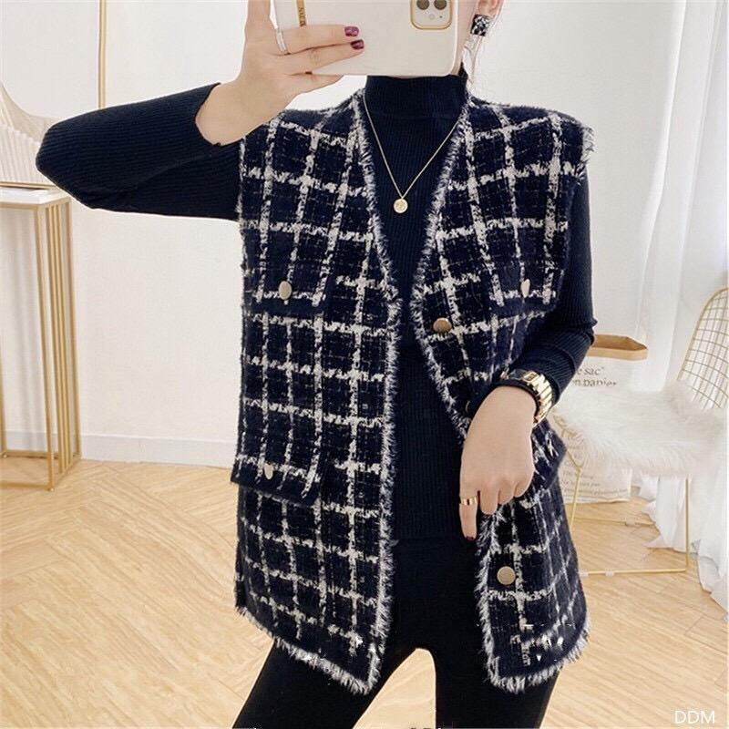 Elegante gillet femme chaleco chaqueta mujer cardigan otoño invierno 2021 suelto pata de punto hechos de punto Streetwear con cuello en V abrigo chalecos de mujer