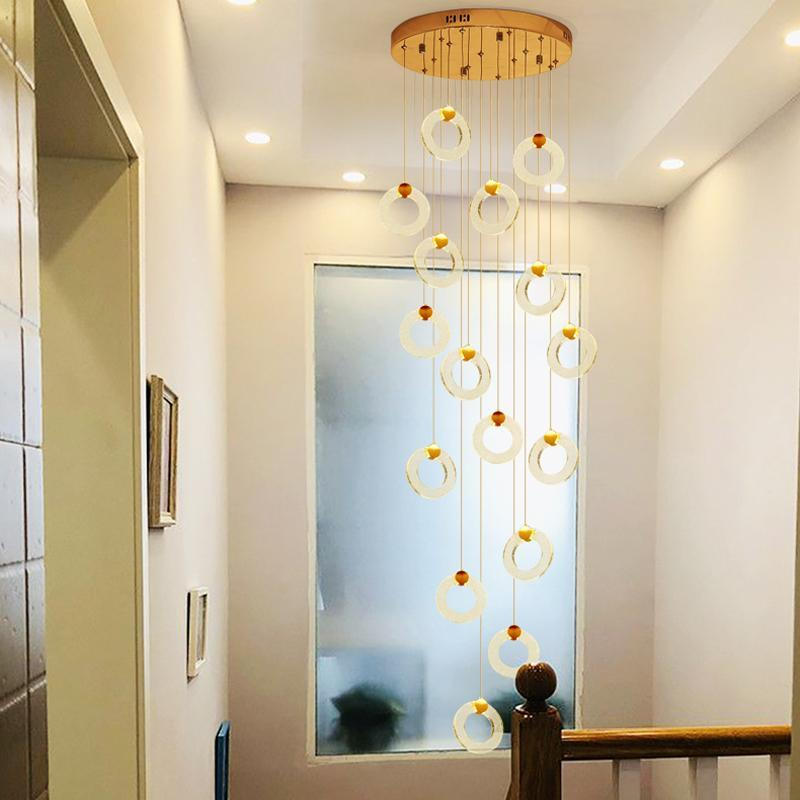 Pendelleuchten Duplextreppe Langhellkristall Moderne minimalistische nordische LED Rundring Villa Beleuchtungstreppen Wohnzimmer