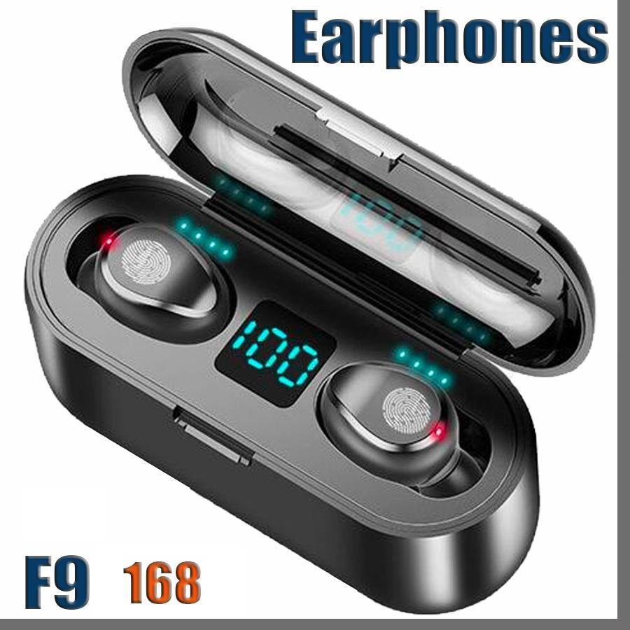 ePacket Wireless Earphone Bluetooth V5.0 F9 Headphone LED Display With 2000mAh Power Bank Headset Microphon 168D