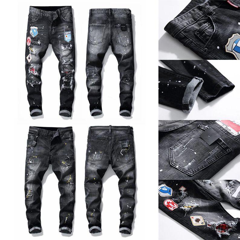 21SS Mens Tasarımcı Kot Sıkıntılı Satmak Slim Fit Motosiklet Biker Denim Erkekler için Moda Moda Mans Siyah Pantolon