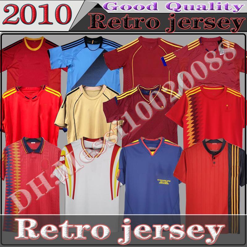 Final 1994 1996 2008 2010 2012 İspanya Retro Futbol Jersey Fabregas Xavi Luis Enquique Alonso Iniesta Pique Torres Camiseta de Fútbol Klasik Futbol Gömlek