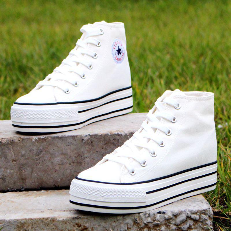 Elbise Ayakkabı Yüksek top 5.5 cm Platformu Tuval Kadınlar Dantel-up Bayanlar Rahat Sneakers Açık Nefes Eğlence Ayakkabı 4536