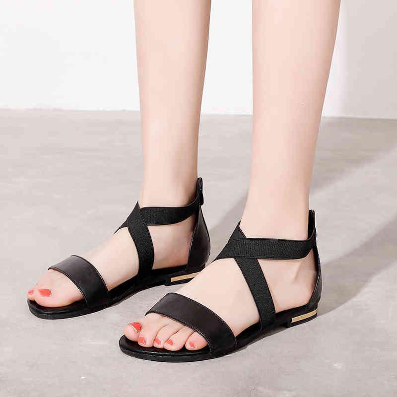 Summer Sandals Women Flats Casual Genuine Leather Flip Flops Beach Shoe Black Cross Strap Gladiator Sandal Large Size 210521