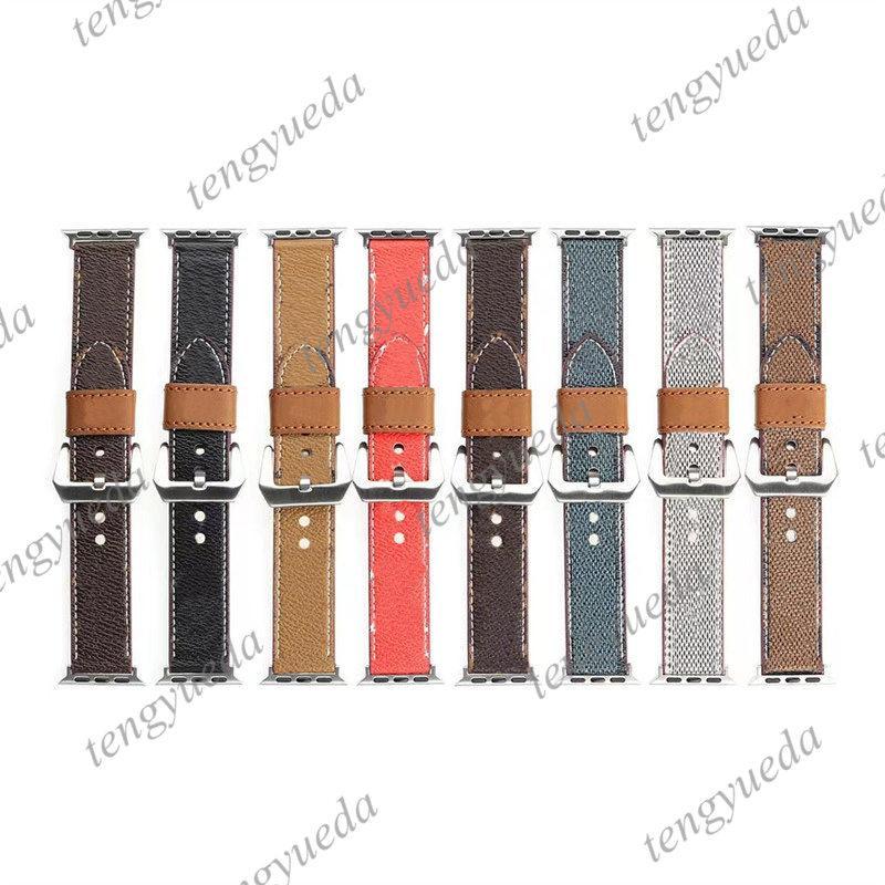 Top Fashion Designer Guarda cinghie per 38mm 40mm 42mm serie 44mm Series 1 2 3 4 5 6 Elevata qualità in vera pelle Smart Bands Deluxe Wristband Watchbands Accessori indossabili