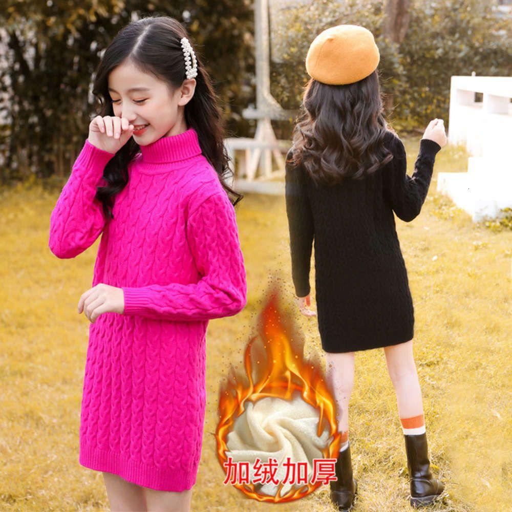 Кардиган физическая стрелковина осенью и зимой одежды девушки корейские плюшевые длинные высокие шеи поворот свитер Чжунда детская футболка