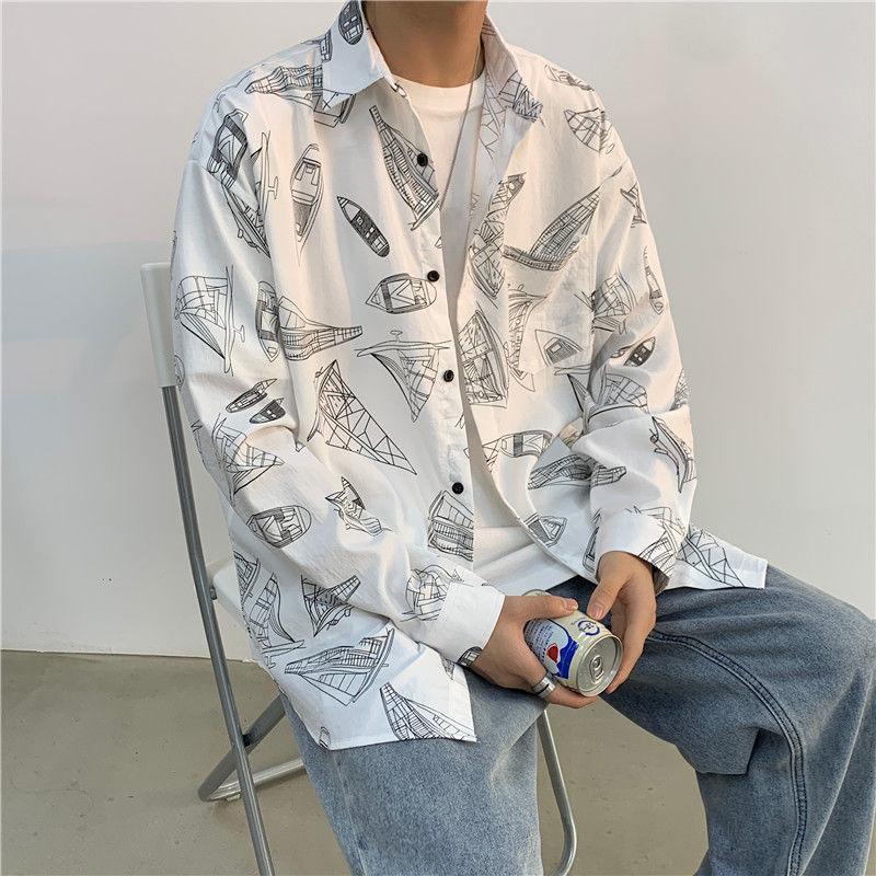 봄 목록 긴팔 인쇄 셔츠 남성 느슨한 스타일 국가 추세 올 매일 흰색 추천 남성 캐주얼 셔츠