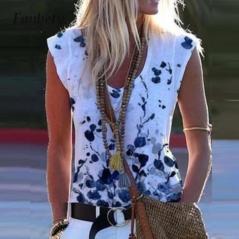Chemise à col en V sans manches Femme d'été Plus Taille 5XL Modèle d'impression Réservoir Casual Sport Slim Streetwear Tops chauds Tops Tees