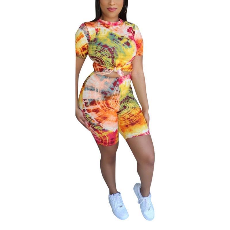 Mujeres Trajes de 2 piezas Tie tinte Tops Tops Camiseta pantalones cortos pantalones Bodycon Casual Set Female fiesta Clubwear Moda Ropa Traje Dos vestido
