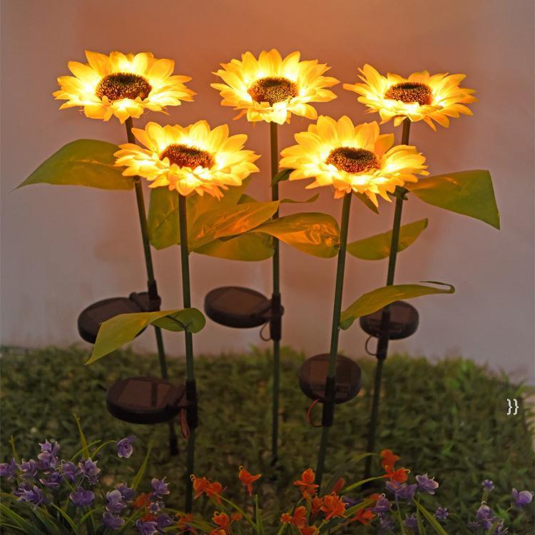 Solars 해바라기 조명 정원 장식 야외 잔디 램프 태양 LED 풍경 해바라기 요정 램프 밤 빛 바다 OWC7599