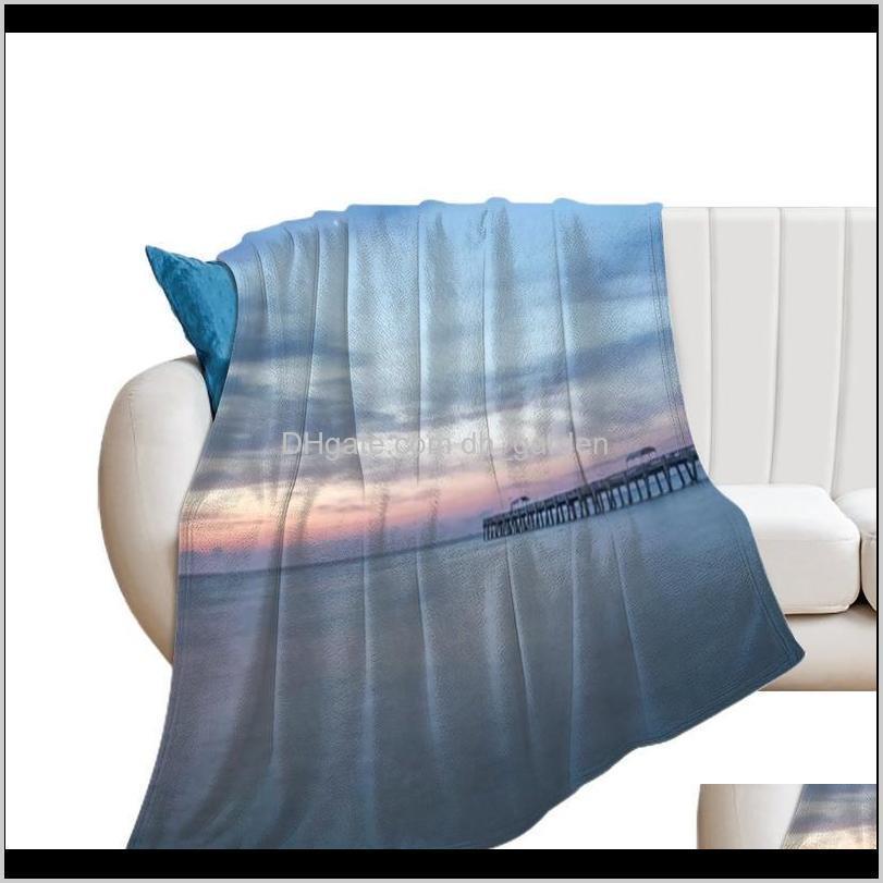 Textiles Home & Garden Drop Delivery 2021 Sun Moon Blanket Summer Super Soft Decorative Fleece Bedspread Blankets Ni6Gt
