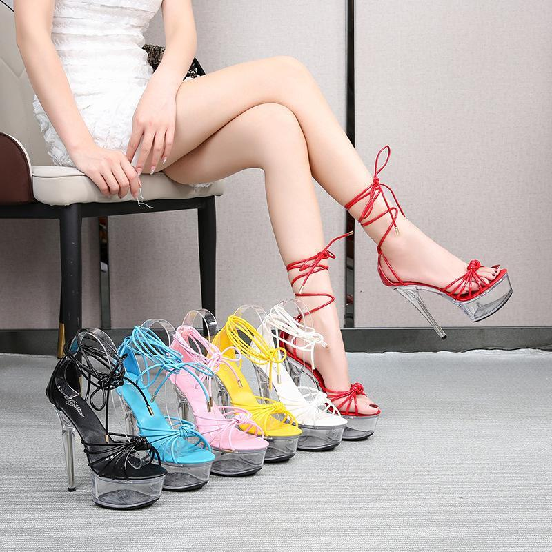 190-B1 34-43 Super High Heel Fish Shoes Shoes 13CM15cm Sandali da donna sottile Night club Sexy