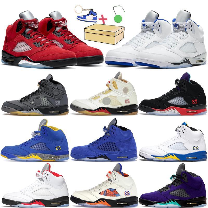 2021 5s mens basetball tênis 5 Raging Red Top 3 Blue Suede Oreeo Branco Internacional Vôo Desert Camo Fresh Prince Trainers Sneaker 7-13