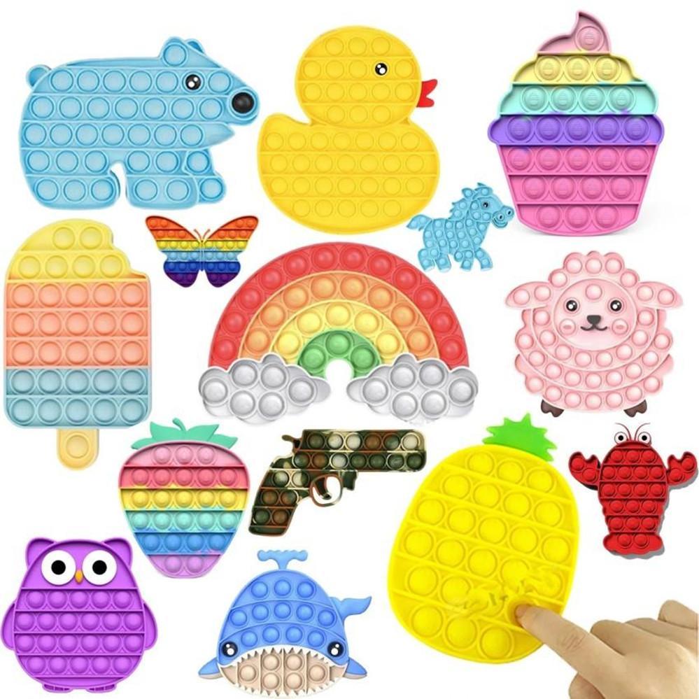 Tiktok Rainbow Push Press It Fidget Toy Sensory Push Bubble Sensory Autism Special Needs Anxiety Stress Reliever for Office Workers 2021 NEW