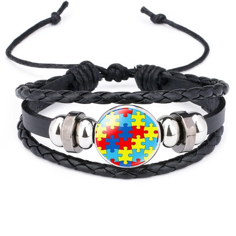 Nouveaux Bracelets de sensibilisation aume pour enfants pour enfants Autism garçon fille Charme Cuir Wrap Bracelet Bracelet Joa bijoux Inspirational 785 Q2