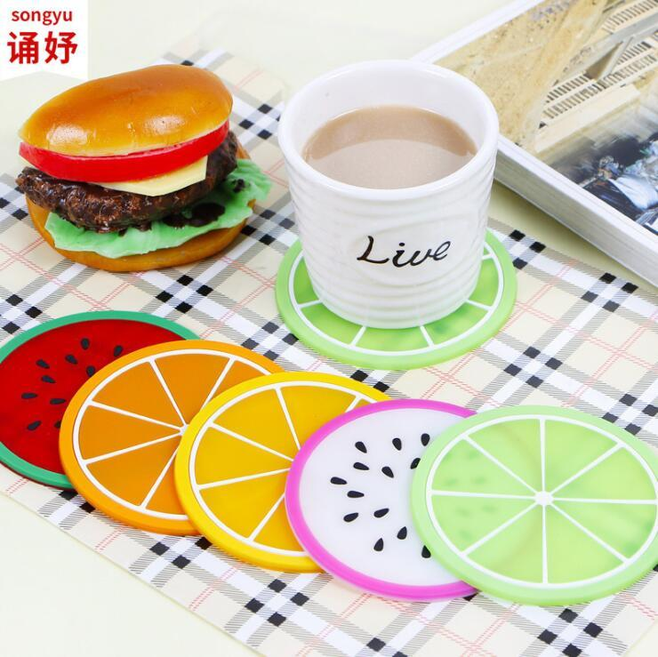 Fruit Silicone Coaster Mats patrón colorido taza de cojín soporte de amortiguador Taza de costa de vajilla de bebida gruesa Taza