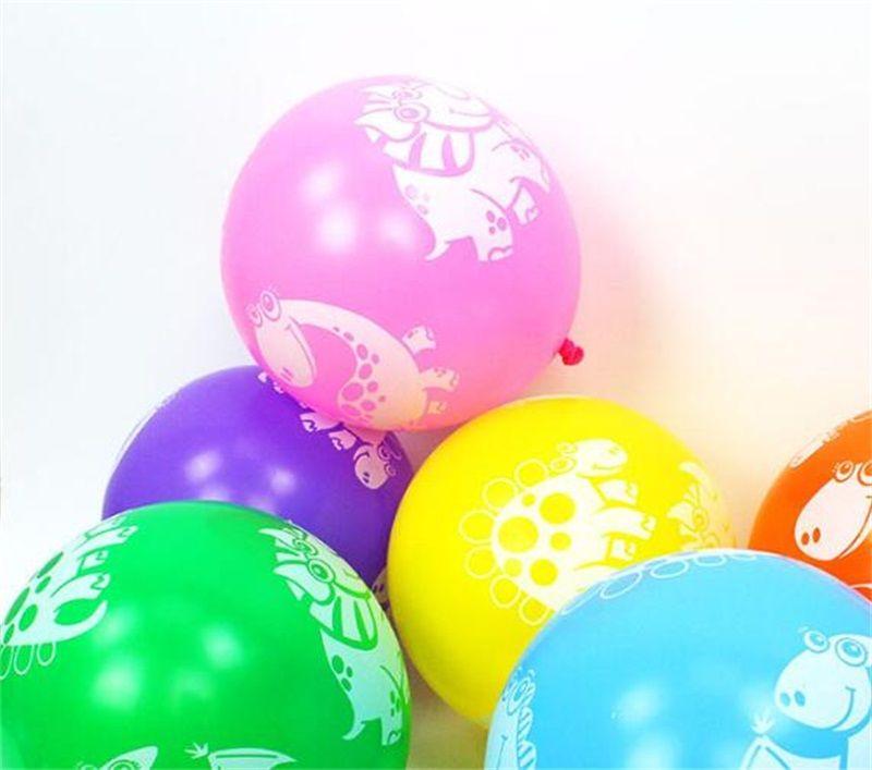 Dinosaurio impreso de látex Globo de látex de 12 pulgadas Globos de colores favores Favores de la fiesta de bienvenida al bebé Decoraciones Fiesta de cumpleaños Suministros de la fiesta para niños Regalos de juguetes para niños 707 V2