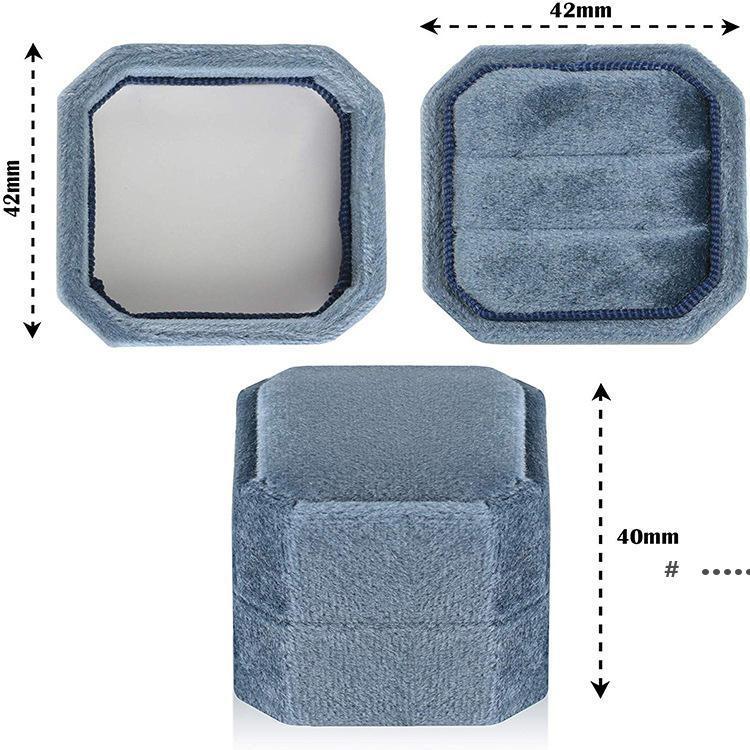 Samt Ringkasten Antike Octagon Doppelzeige Halter mit Deckel für Schmuckkästen Organizer Aufbewahrungskoffer Hochzeit Zeremonie Taschen Meer FWC7506