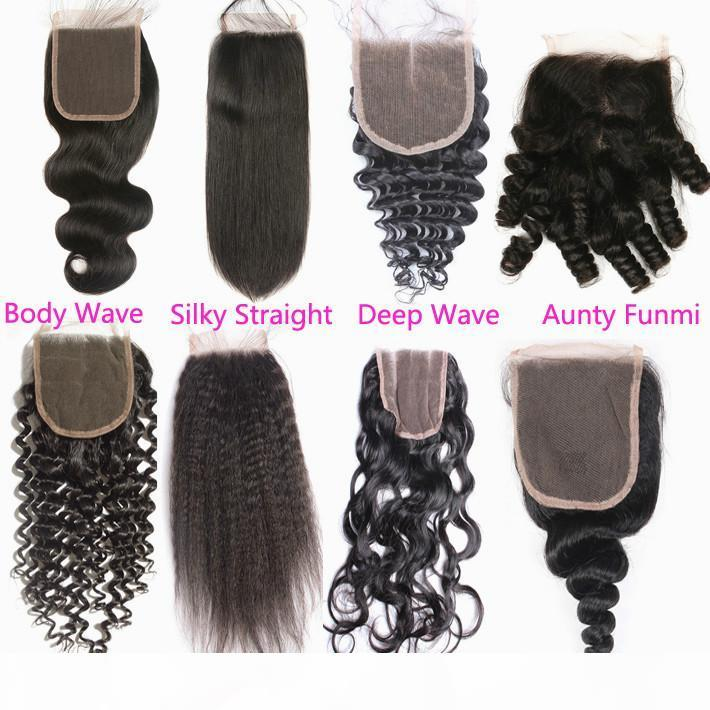 Unprocessed Loose Deep Wave Human Hair Top Closures 5x5 Peruvian Virgin Hair Exquisite Hand Tied Curly Lace Closure Free Middle Three Part