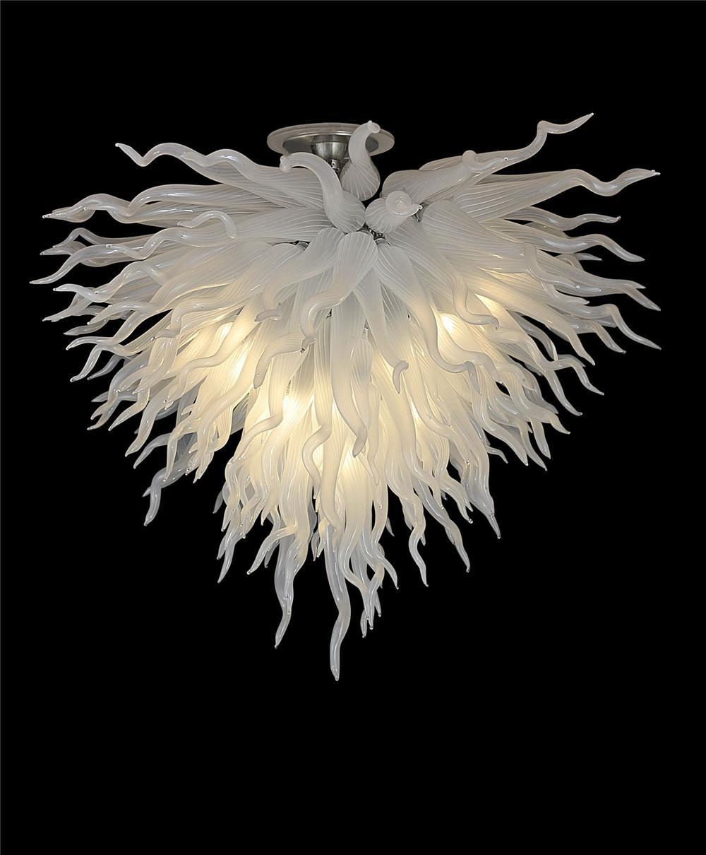 2021 بيع كبيرة الحديثة قلادة مصابيح الفن تصميم متجمد اليد أبيض منفوخ أضواء الزجاج مورانو الزجاج