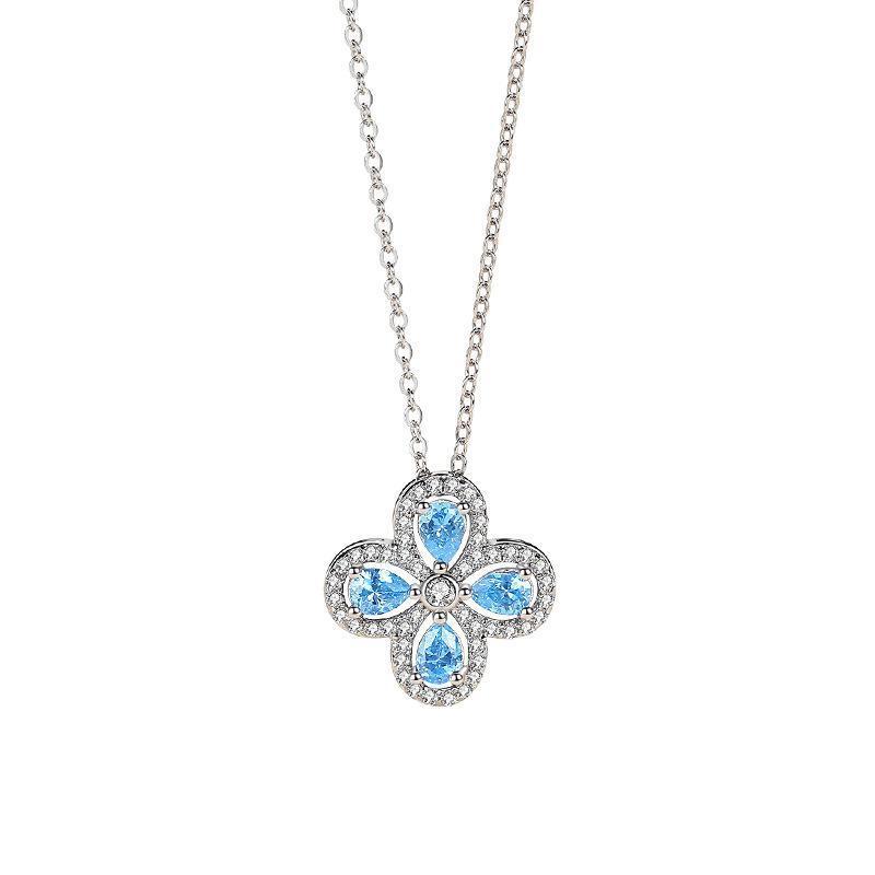 Ketten boutique clover halskette frauen sterling silber ins stil voll von zirkon anhänger blauer wassertropfen clavicle kette banquet geschenk je