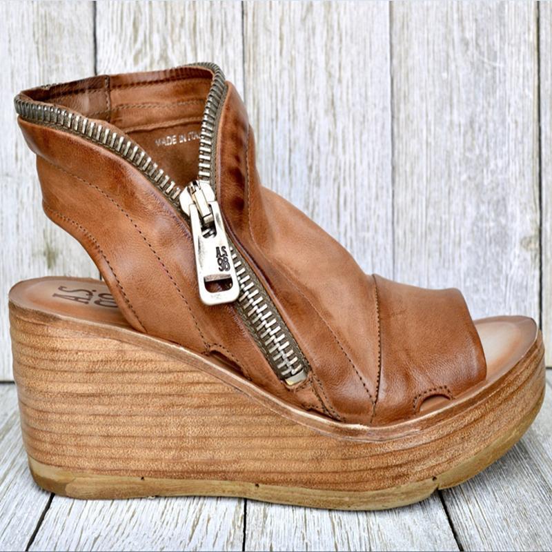 الصنادل 2021 المرأة الصيف منتصف الكعوب أسافين أحذية السيدات خمر بو الجلود زائد الحجم 43 sandalias zapatillas موهير