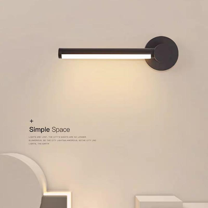 Moderna lâmpada de parede simples LED para quarto moda criativo ajustável sala de estar fundo montado luz