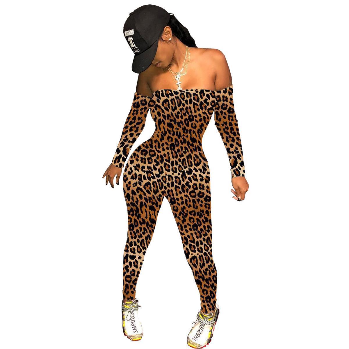 2021 Frühling Leopard Print Frauen Jumpsuit trägerlos Slash Hals Feste Farbe Lange Strampler Womens Overall Outfit 210506