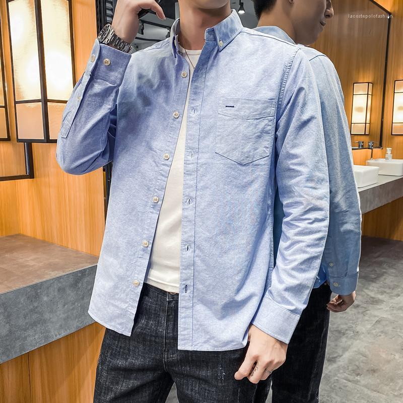 Men's Plus Size School Designer Mens Casual Shirts Teenager Studenten Langarm Mode