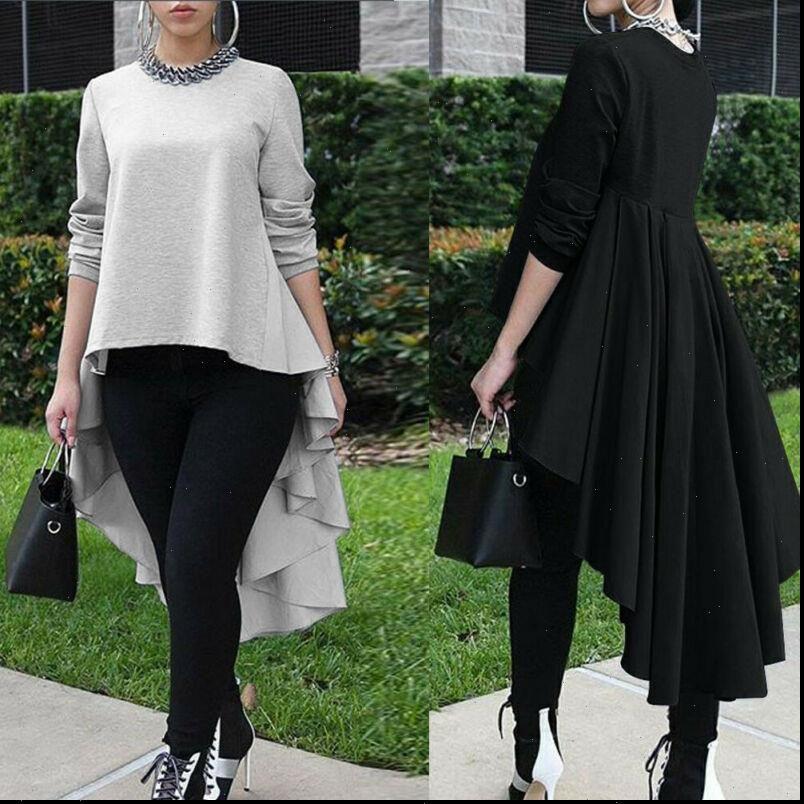 Marka Kadın Bluzlar Katı Gevşek Bluz Gömlek Asimetrik Kol Uzun Yüksek Düşük Boyutlu Şelale Tuxedo Artı Tops