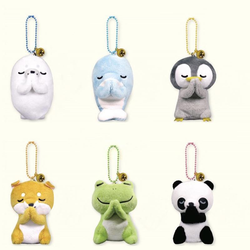 새로운 6 스타일 8cm 플러시 장난감 창조적 인 인형 개구리 팬더 펭귄 인형 박제 동물 봉제 장난감 펜던트 키 체인 키즈 완구 801 x2