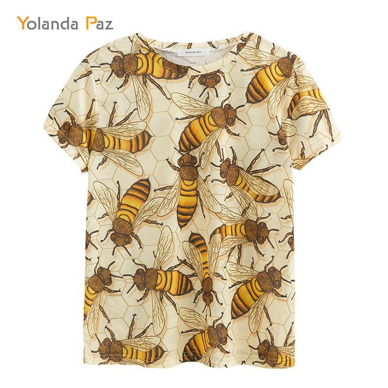 Yolanda Paz Yeni Erkekler / Kadınlar 3D T Shirt Kaliteli Moda Nefes Konfor Arı Baskı Kısa Kollu O-Boyun Tees Tops