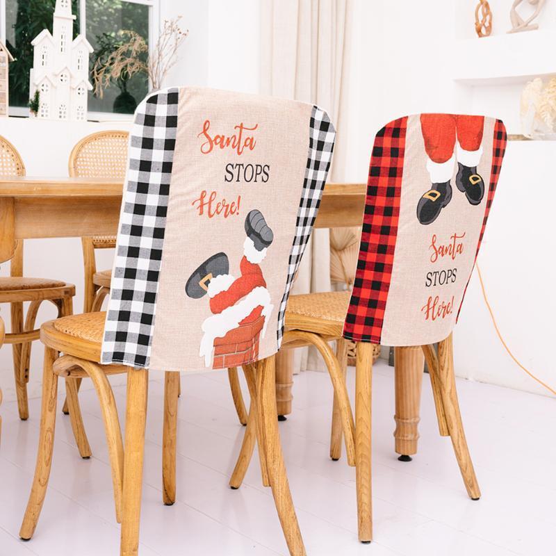 Sandalye Santa Noel Yemeği Koltuk Sırt Kapaklar Noel Dekor Ev Yıl Parti Malzemeleri Festivali Dekorasyon Için