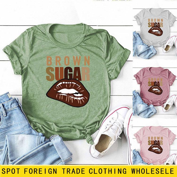Camiseta para mujer Diseñadores de moda Azúcar marrón Impresión de labios de manga corta Pullover Base grande Top TOP TEES POLOS PALOS PERSONAS Y VESADOS