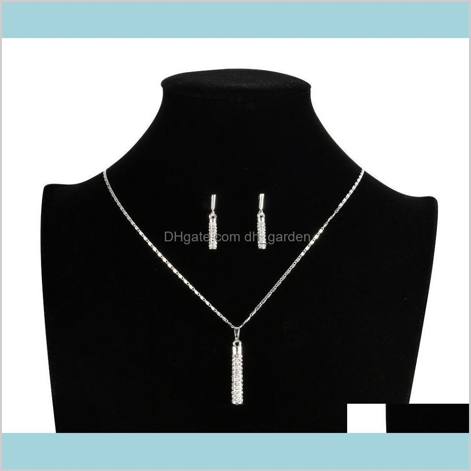 Bracelet Jewelry Delivery 2021 Drop Earrings And Pendant Necklace Crystal Clear 18K Real Gold Plated Sets Sell Ps1398 Bakxs