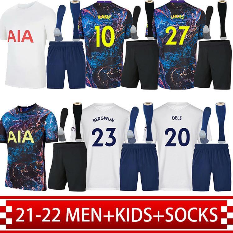 21 22 Bale Kane Soccer Jerseys Dele Son Ndombele Hojbjerg Lo Celso Spurs 2021 2022 Home Away 3rd Camiseta de Futebol Kit Kit + Socks Tottenham Football Shirts