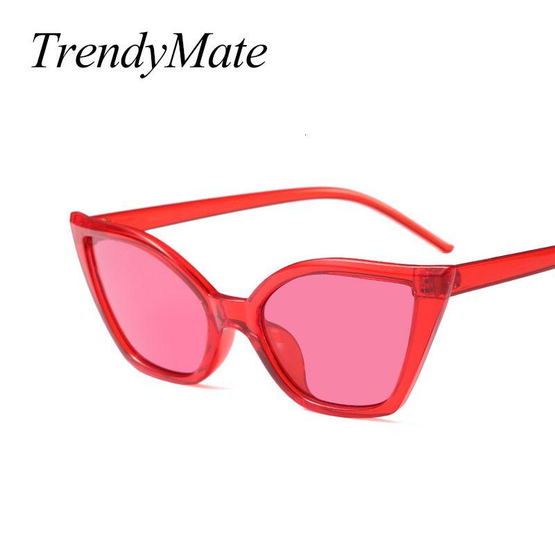 Fashion Cat Eye Luxury Brand Designer Vintage Pequeñas Gafas de sol Rojas Rojas 1445 T