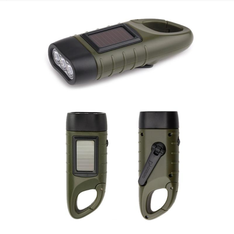 Portable LED Solar Traditional Power Hand Crank Dynamo Rechargeable Light Outdoor Camping Cycling Emergencies Lamp Flashlights To Torches
