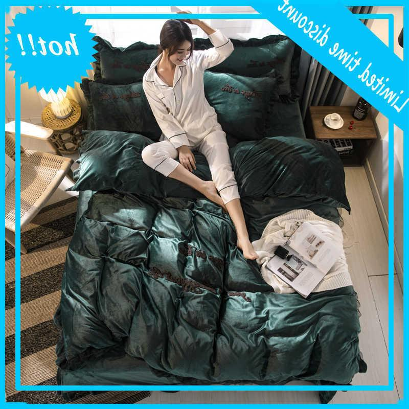Brief Style Crystal Velvet 4PCS Bedding Sets Duvet Cover Bed Flat Fitted Sheet Pillowcase Solid Dark Green Yellow Grey