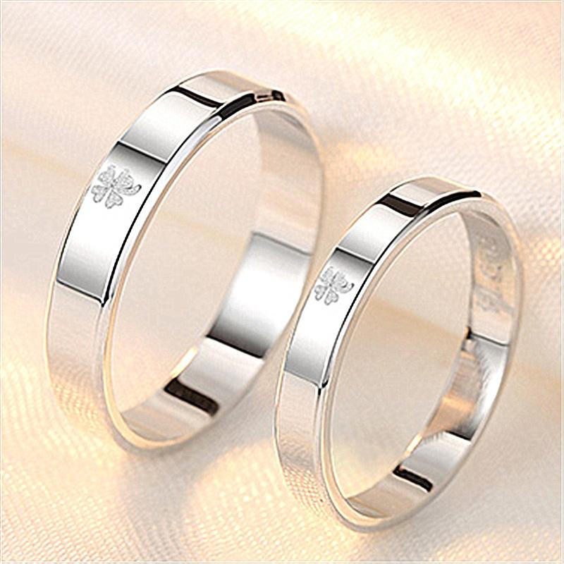 Smooth face lucky four leaf grass lovers ring