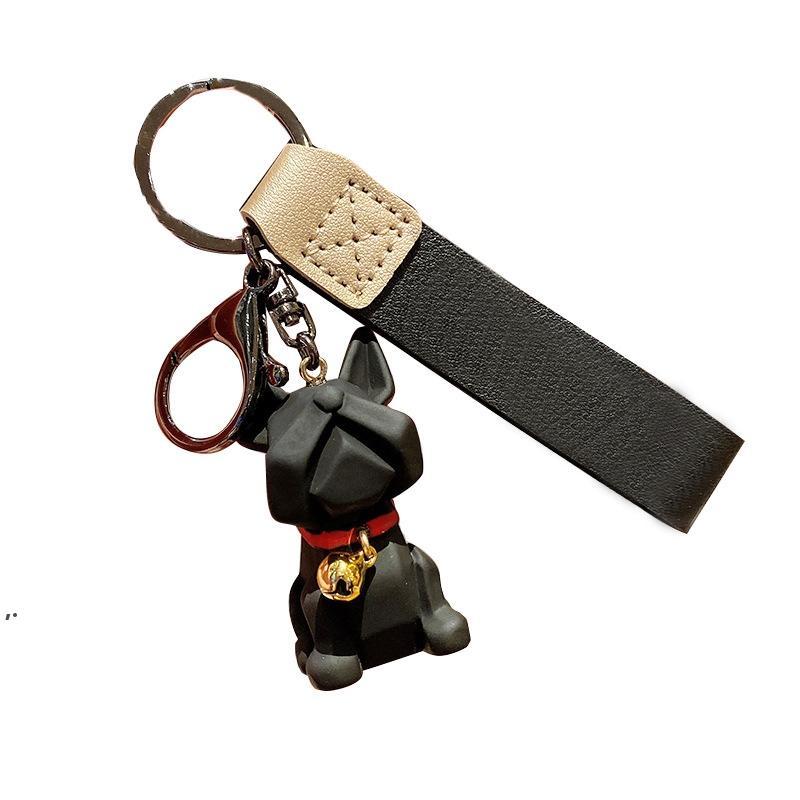 SH002 Silikon Çan Bulldog Köpek Tarzı Anahtarlıklar Reçine Kolye Yaratıcı Çift 3D Sevimli Anahtarlık Zinciri 4 Renkler DWD8318