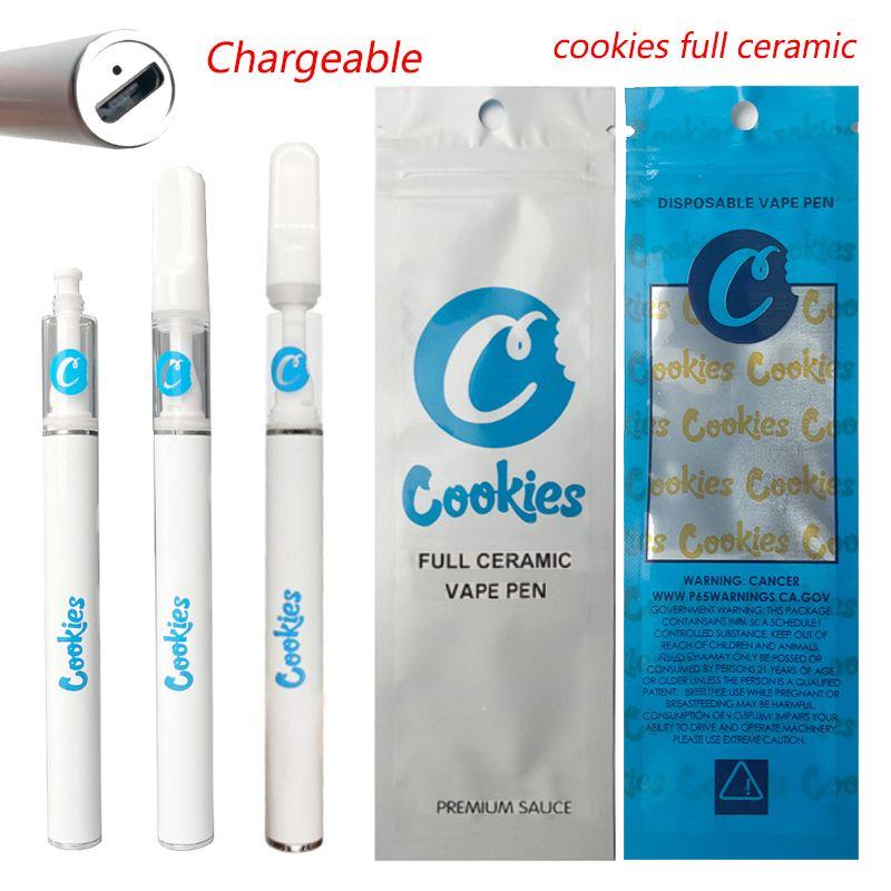 Cookies Full Ceramic Delta 8 Аккумуляторные одноразовые ручки Vape E Cigarettes Free Free 0.5 мл Тележки 350 мАч Пустой толстый испаритель масла ручка PEN
