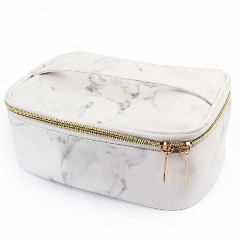 Cosmetic Bag Carry Bolsa Presentes Durável Pu Moda Mármore Grão Negócios Grande Capacidade Hospedeia Viagem Armazenamento Composição Organizador U5TL #
