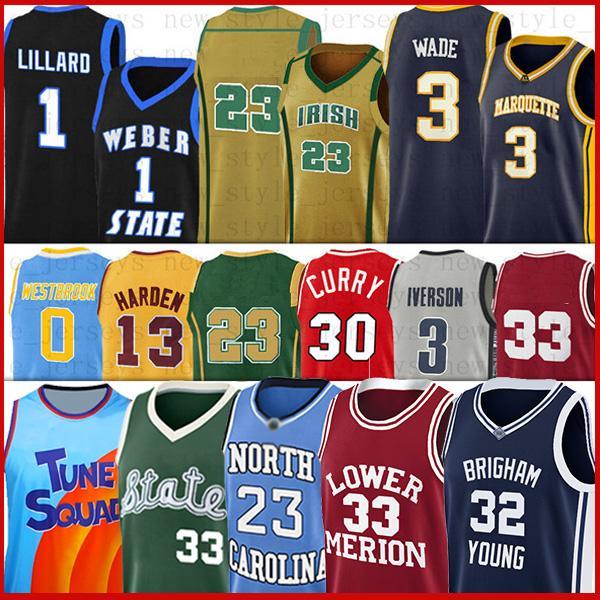 카레 듀란드 남성 NCAA LSU 농구 유니폼 러셀 SOOLERS HARDAWAWAAWAAWAY 젊은 웨스트 브룩 11 TRAE Marquette Dwyane Golden Iverson Wade Kevin Stephen Jerseys