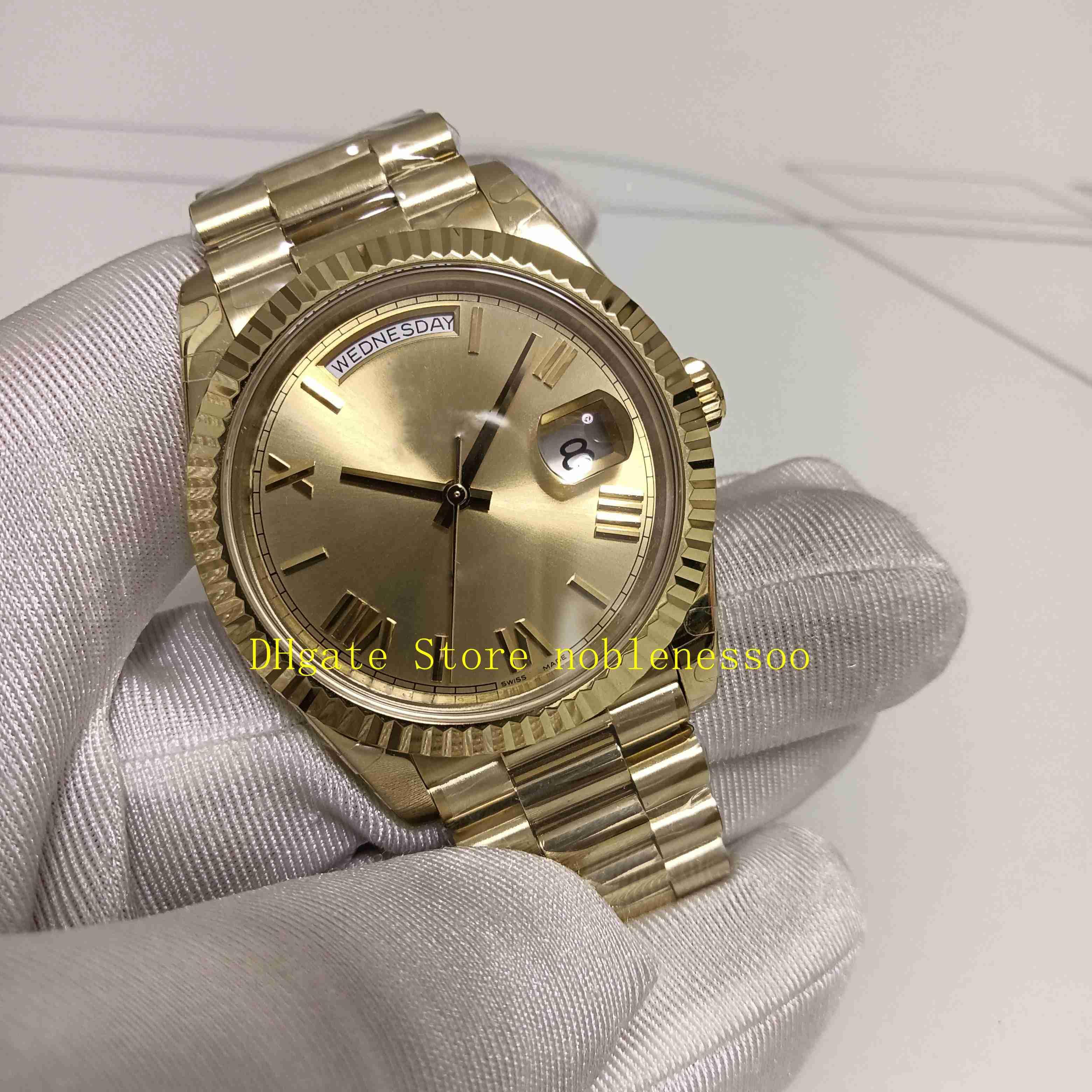 8 Style Top Version Mens Watch Bp Factory Män 228238 VD för datum 40mm Champagne 18K Gul Guld 228235 Armband Eta Cal.2813 Rörelse Automatisk Klockor Presentförpackning