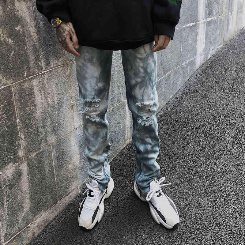 Hole de la rodilla Tie Dye Wash Lave Jeans Hombre Pierna Cremallera Split Tide Marca Slim Pantalones