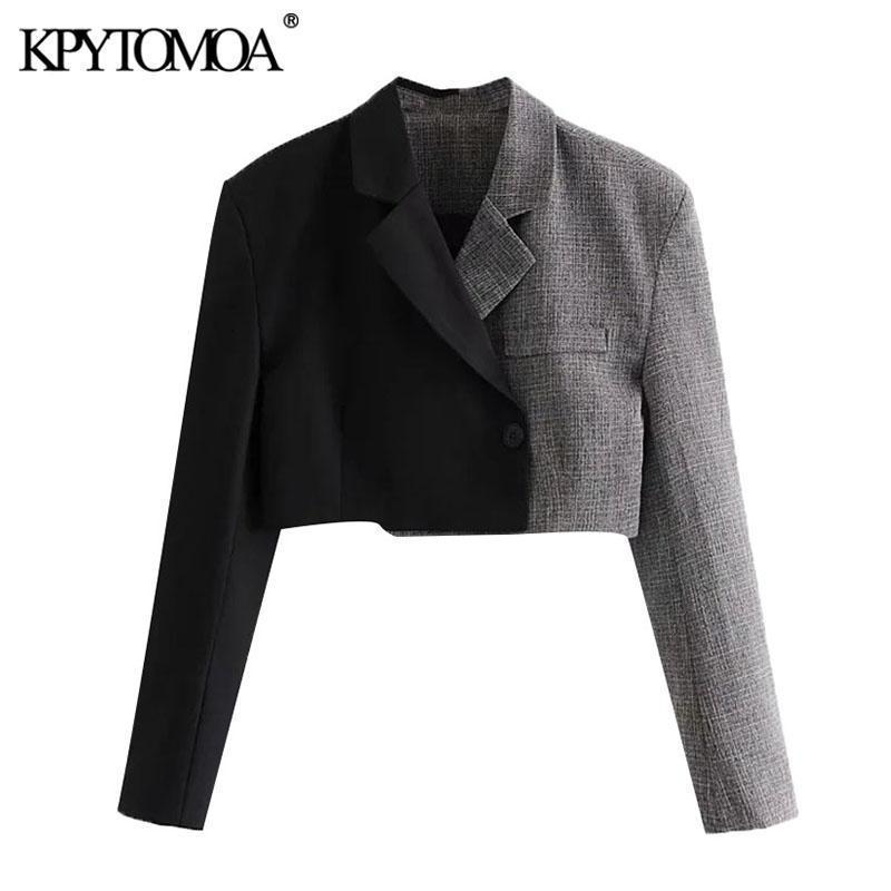Kpytomoa Donne 2021 Moda Patchwork Cappotto Blazer Cappotto Blazer vintage Vintage Settoched Colletto a maniche lunghe Capispalla femminile Chic Tops