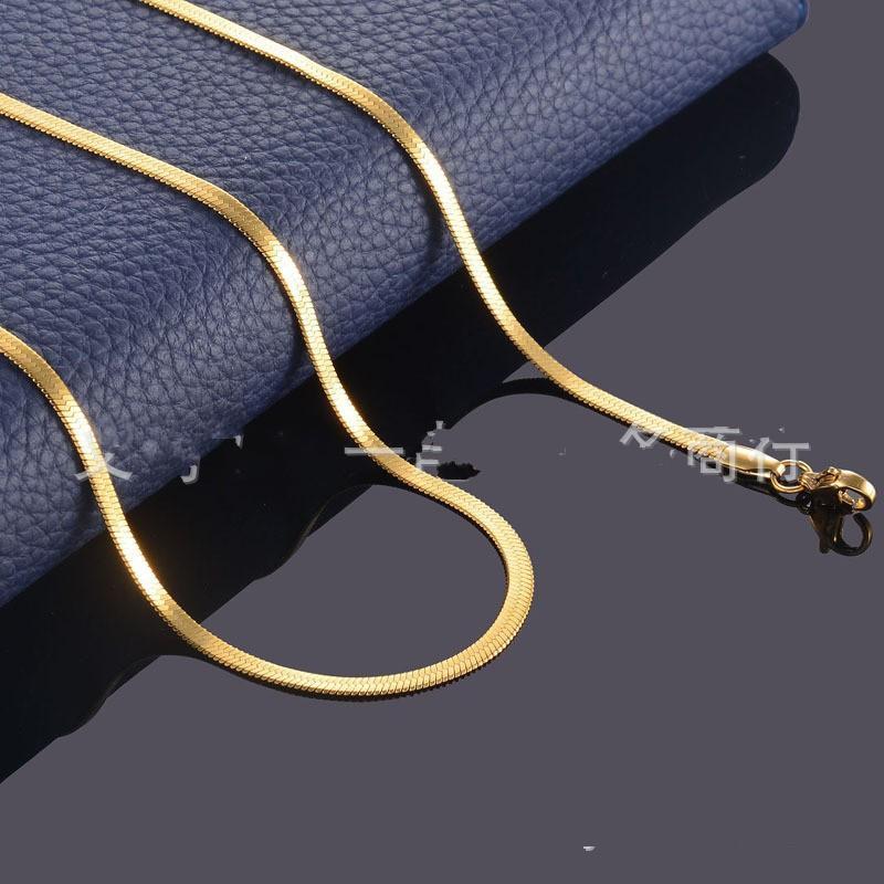 Мужская хип-хоп из нержавеющей стали плоская цепь ожерелье из золота Водонепроницаемые пленочные змеиные цепи ссылка ожерелья женщин мужчины заявление ювелирных изделий подарок 366 G2