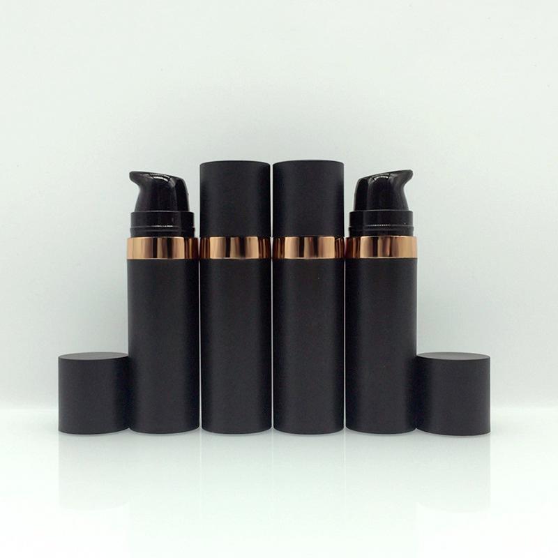 15ml givré plastique noir pompe sans air bouteille de voyage taille de voyage rechargeable cosmétique pour la lotion oeil crème essence nettoyant facial