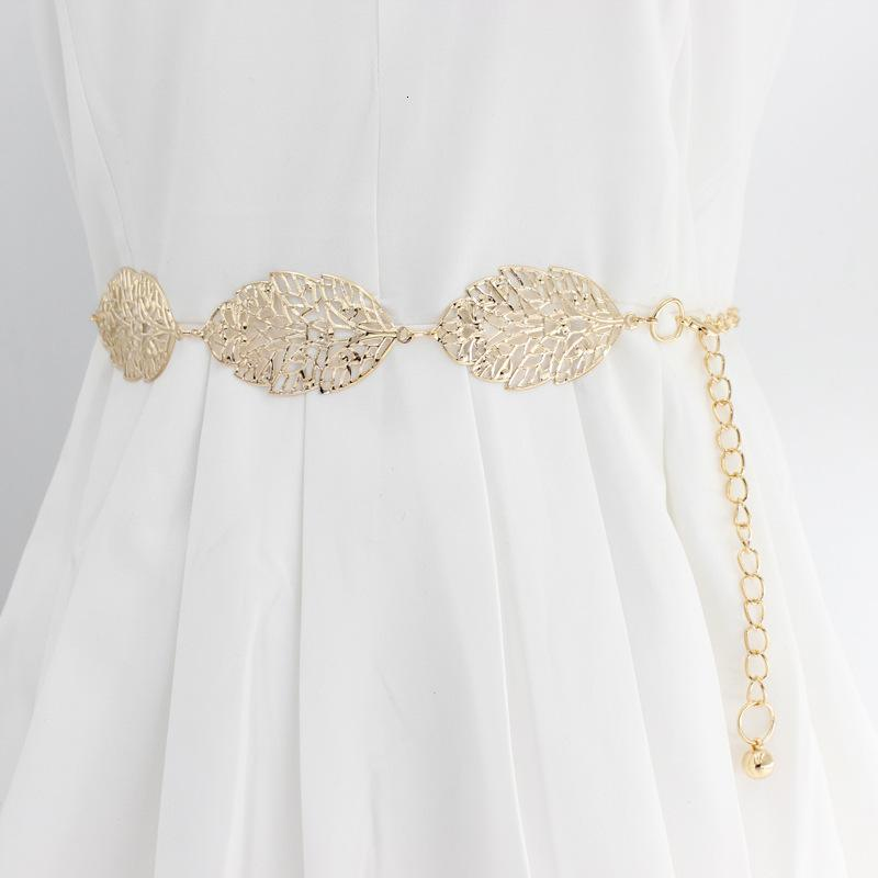 Koreanische stil frauen metall blätter mode elegant wild geschnitzt kleid dekorative kette taille gürtel weibliche silbergold